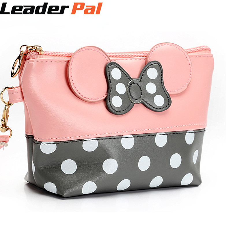 LeaderPal Cartoon Bow Cosmetic Bag Women Zipper Hand Holding Make Up Handbag Organizer Storage Pouch Toiletry Wash Makeup Bags