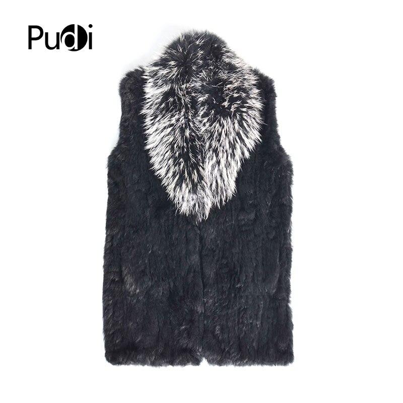 Pudi femmes réel lapin fourrure gilet 2018 hiver nouvelle fille véritable fourrure veste manteaux avec raton laveur argent renard couleur noire VT808