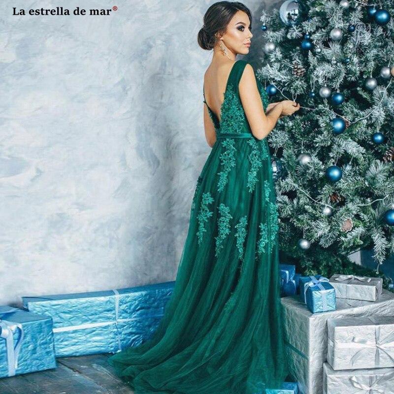 Vestido Verde Esmeralda 2019 New Tulle Beaded Sexy V Neck A Line Green White Pink Burgundy Bridesmaid Dresses Long Abendkleide