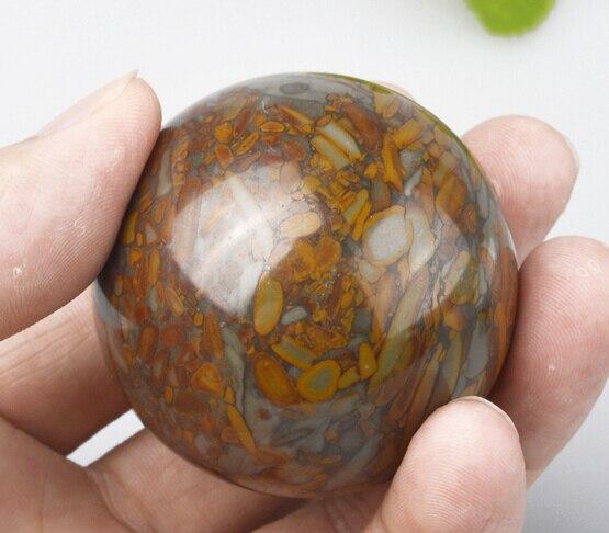 Around 5cm round handmade chinese natural stone palm massage ball 2pcs