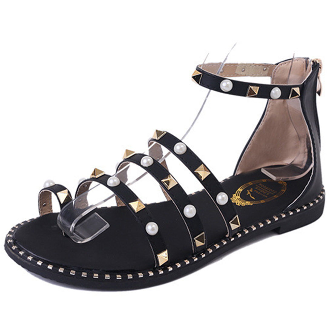 Women's sandals with zipper