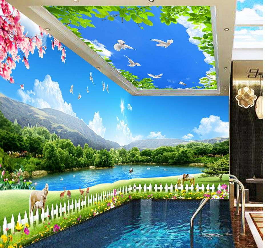 Landscape wallpaper murals Grass lake sky space theme 3d ...
