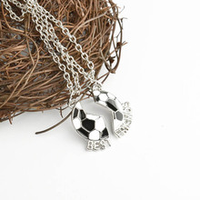 Fashion Best Friends Letter Necklace Black White Football Pendant Necklace Men Jewelry Split Ball Necklaces Gifts