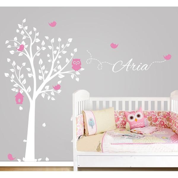 Mail gratuit hibou arbre Sticker mural nom personnalisé vinyle stickers muraux pour pépinière garçons et filles décoration de chambre décoration de la maison