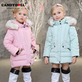 Girls Wadding Coats Trends Candydoll Kids All-match Winter Outerwear Polyester Hooded Warm Breathable Girl Winter Coat
