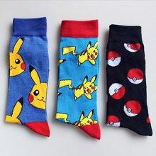 Winter Wen socks cotton Japanese Harajuku Cute Cartoon pokemon funny Socks Unisex Kawaii Pikachu skarpetki