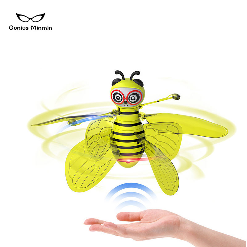 Hot sale mini aircraft small bee induction flight gesture induction drone helicopter infrared induction aircraft new strange toy-in RC Helicopters from Toys & Hobbies