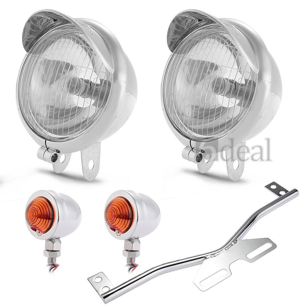 Round Motorcycle Headlight Fog Lamp Set Bullet Chrome Turn