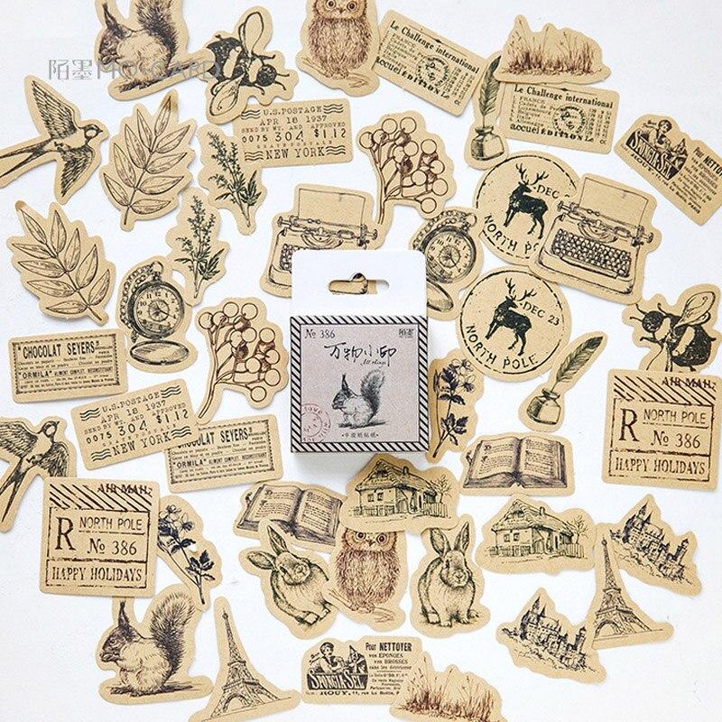 46 Pcs/lot Vintage Small Animals Paste Mini Paper Sticker Package DIY Diary Decoration Sticker Album Scrapbooking