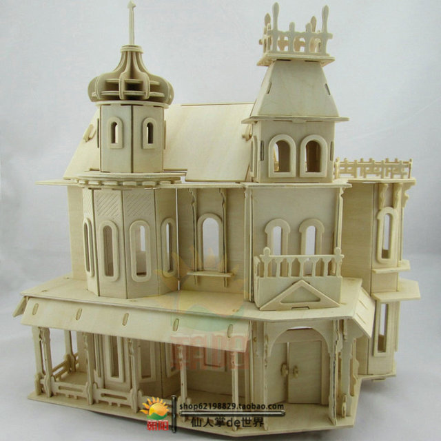 Free Shipping 3D Wood Puzzles Wood Simulation 3d House Intelligence Manual  Building Dream Castle Toy Gift