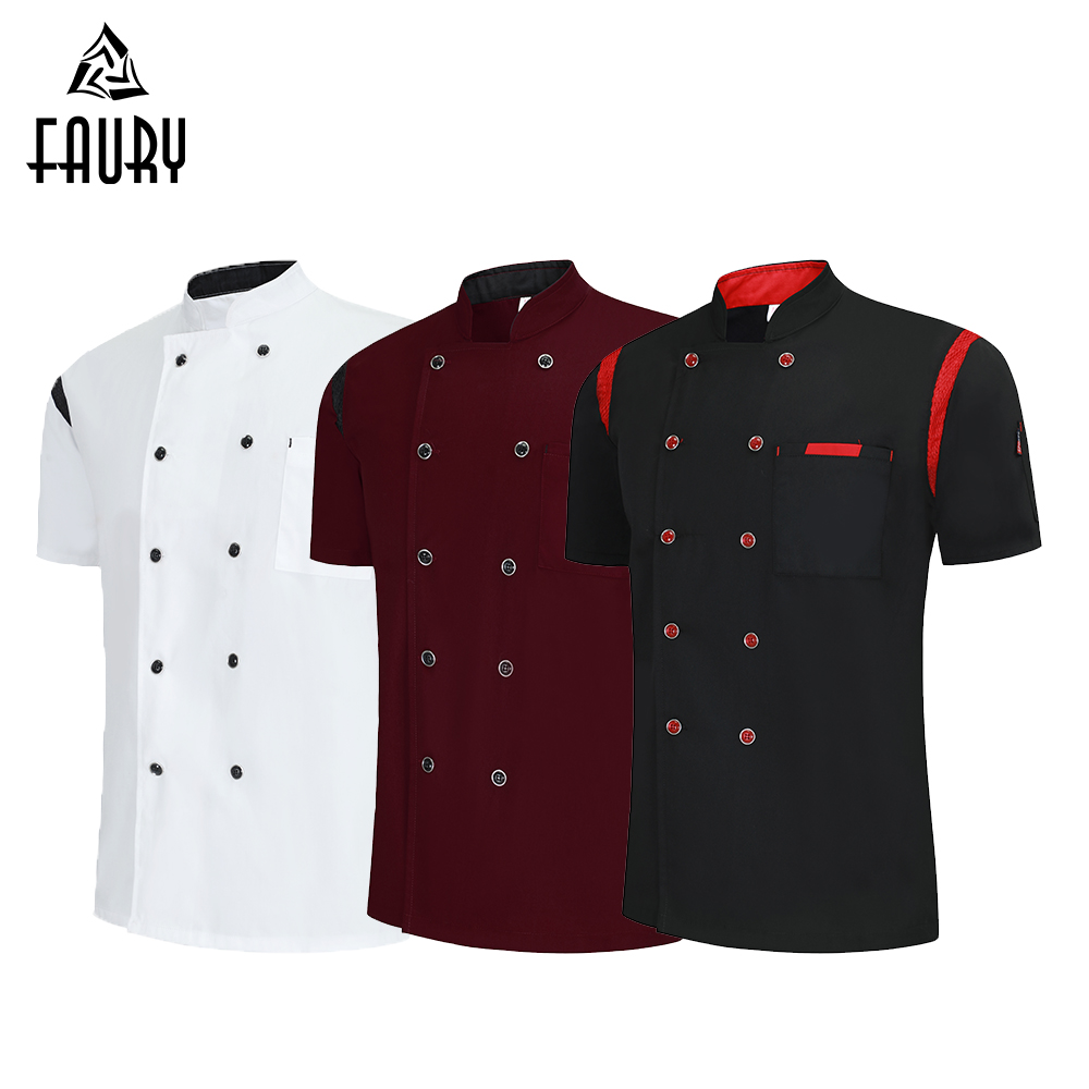2019 Chef Clothes Cool Breathable Women Men Chef Shirt Barbershop Cook Overalls Kitchen Restaurant Uniform Bakery Dessert