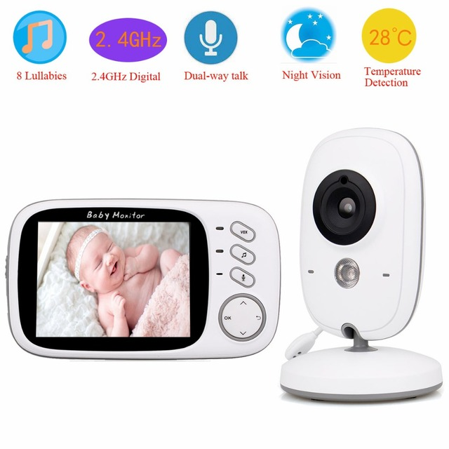 "3.2"" LCD Wireless Baby Monitor Night Vision Two-way Talkie Audio Digital Video With Temperature Sensor Camera 2.4GHz F3347B"
