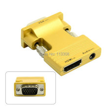 10pcs/ lots HDMI Female to VGA Male & Audio Output Adapter for PC Laptop Macbook Projector Monitor Gold ,By Fedex UPS DHL