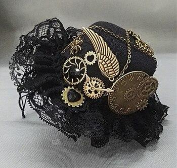 Punk Novelties Steampunk Victorian Gears Mini Top Hat Costume Hair Accessory Handmade With Steam Punk Gear Glasses  1