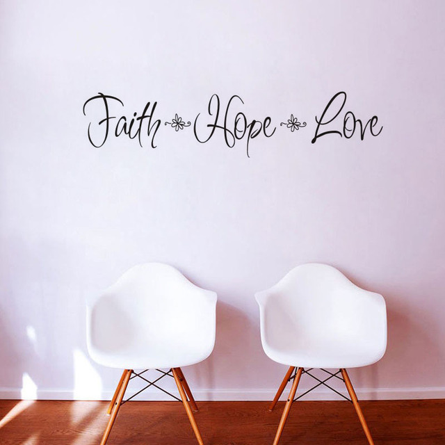 US $1.87 |FAITH&HOPE&LOVE vinyl wall decal quotes diy art mural removable  wall stickers home decor living room bedroom-in Wall Stickers from Home &  ...