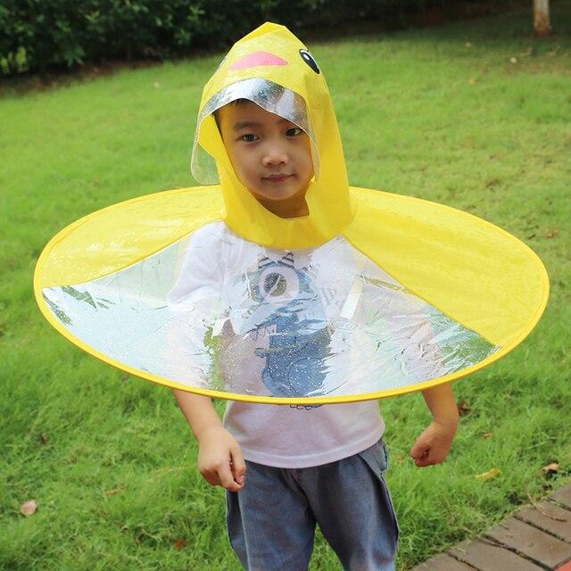 Детская желтая утка забавная дождевая шапка с зонтиком для детей, взрослых, складной зонтик, рыболовный плащ, плащ, уличные походные шапки, хит!