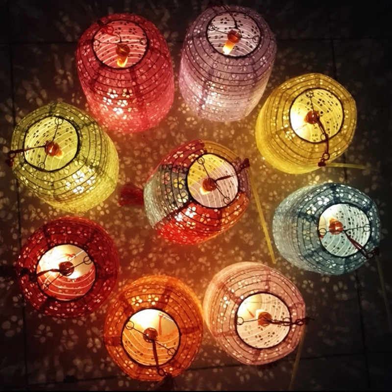 10 set Zylindrischen papier laternen tragbare luminous hohl laternen mit led licht kinder Tag kinder geburtstag party diy lampion
