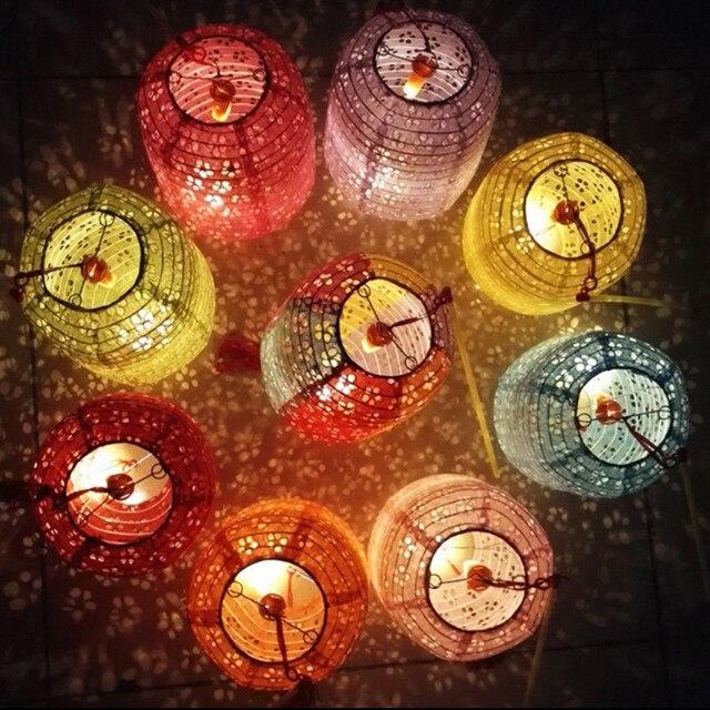 10 Bộ Hình Trụ đèn lồng giấy di động dạ quang rỗng Lồng đèn có đèn LED Ngày Trẻ Em trẻ em sinh nhật tự làm lampion
