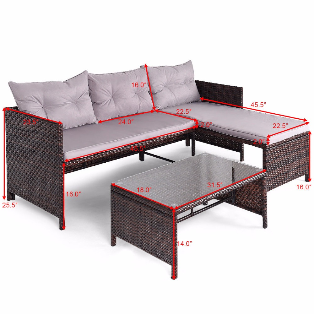 Giantex 3 PCS Outdoor Rattan Furniture Sofa Set Lounge Chaise Sofa ans Coffee Table Cushioned Patio Garden Furniture HW58535 4