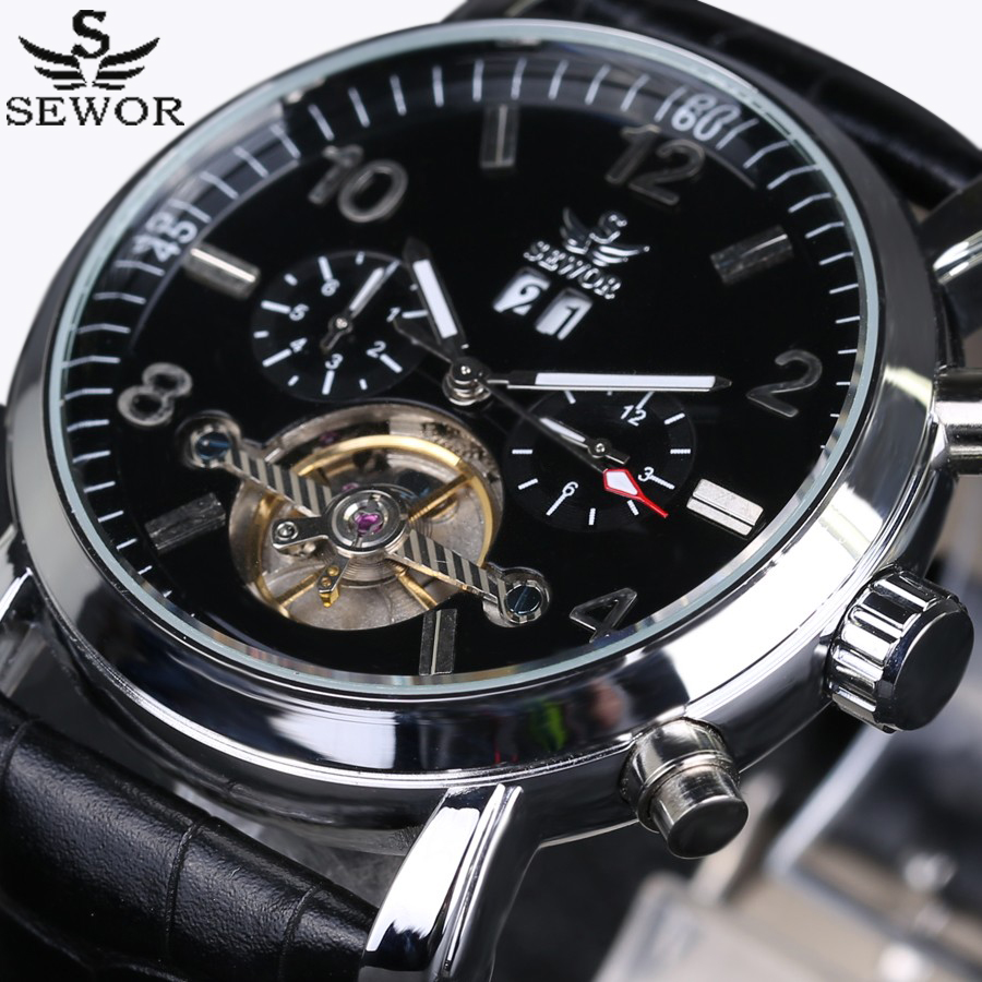 SEWOR luxury brand Men Watches tourbillon Clock 6 Hands 2 sub-dials Rotate Automatic Mechanical Watch Date leather Wristwatch forsining tourbillon designer month day date display men watch luxury brand automatic men big face watches gold watch men clock
