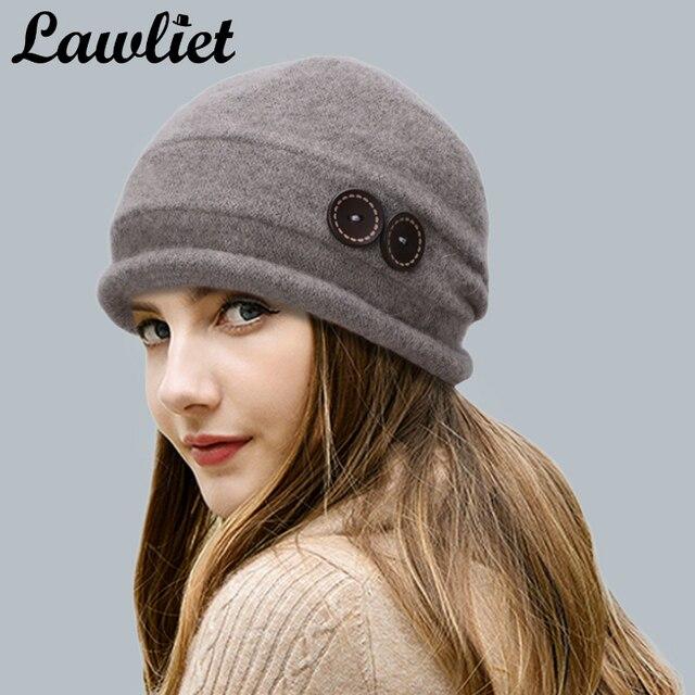 a31a2b8362b Lawliet Women Wool Hat Cap Winter Beanie Hat Wool Knitted Hats with Button CRYSTAL  Ladies Fashion Warm Bonnet Women Skullies Cap
