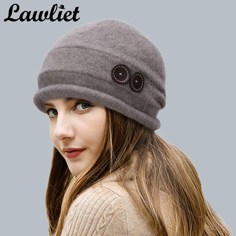 Lawliet Women Wool Hat Cap Winter Beanie Hat Wool Knitted HatsLadies Fashion Warm Bonnet Women Skullies Cap T178