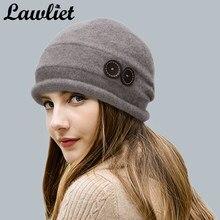 4326b263e26a2 (Ship from US) Lawliet Women Wool Hat Cap Winter Beanie Hat Wool Knitted  Hats with Button CRYSTAL Ladies Fashion Warm Bonnet Women Skullies Cap