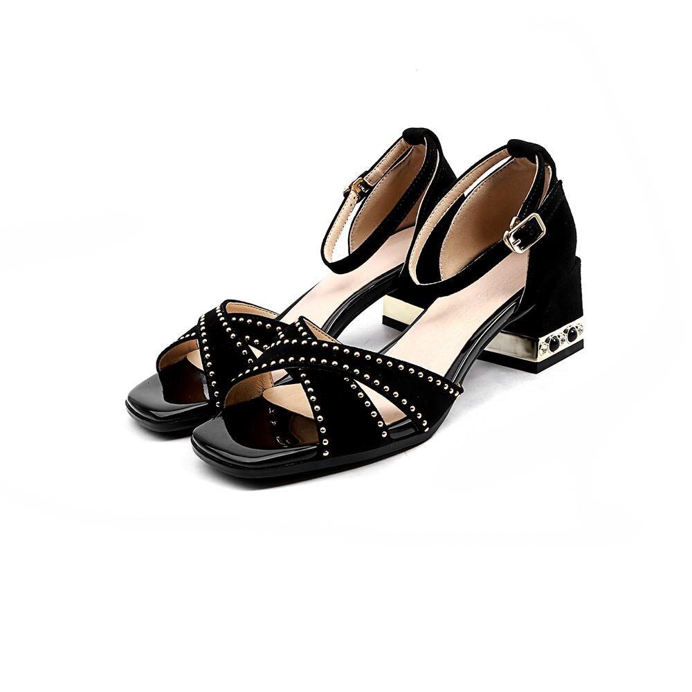 Mujer Zapatos Correas Verano Hebilla Negro Simple Moda Suede L32 WH2D9EI