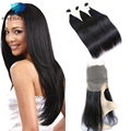 360 Lace Frontal with 3 Bundles Pre Plucked 7A Peruvian Straight Human Hair with 360 Closure with Baby Hair Ivy Dear Recommend