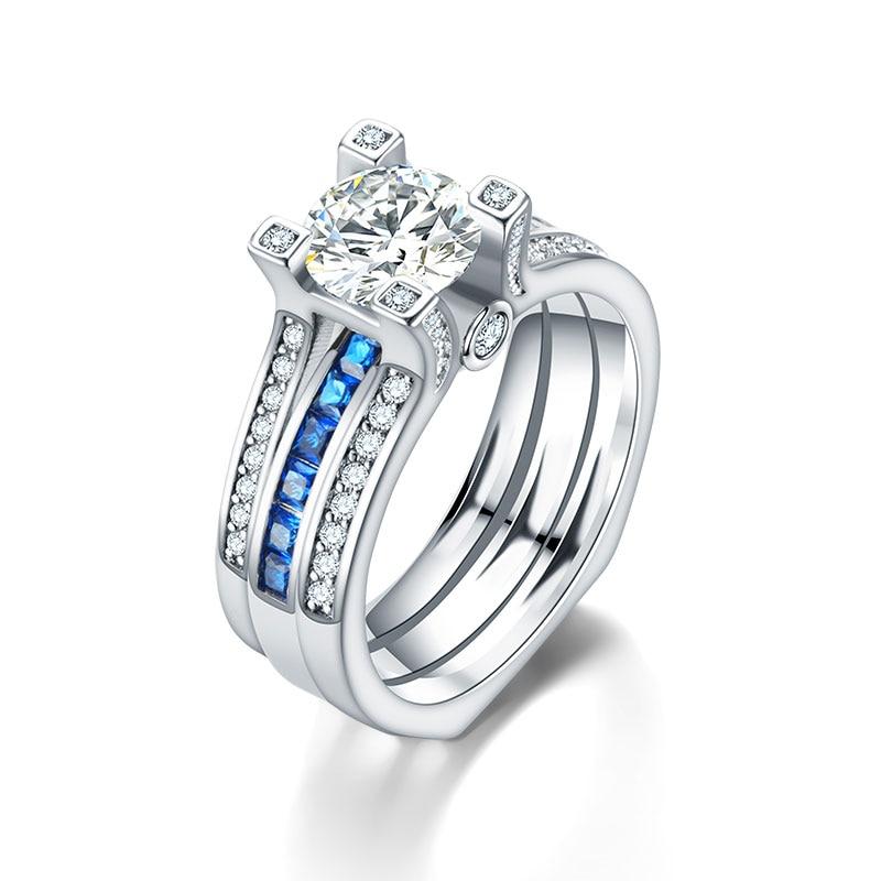 2 pz Amanti Anelli In Argento di Cristallo di Fidanzamento Anello di Cerimonia Nuziale Per Le Donne Degli Uomini Dei Monili Dell'anello