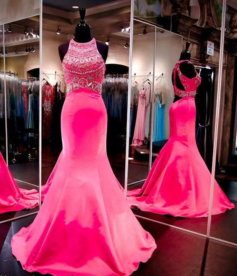Vestidos Cortos De Gala 2017 Dark Pink Halter Mermaid Prom Dress ...