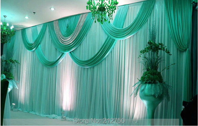DHL Fedex Free Shipping Wedding Stage Backdrops Decoration Romantic Tiffany  Blue Gold Purple Wedding Curtain With Swags Sequins