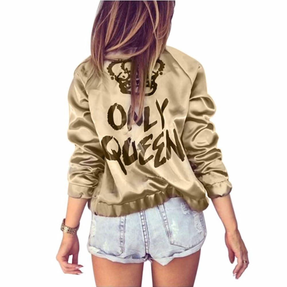 HTB1 tdEeBGE3KVjSZFhq6AkaFXah Autumn Women Bomber jacket Women Coat Crown Queen Print Long Sleeve Zipper Top Coat Biker Casual Short Outwea