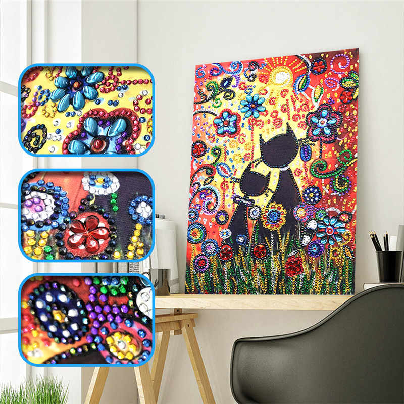 New special shape diamond painting cartoon flower combination modern pattern DIY 5D part drill cross stitch kit crystal art