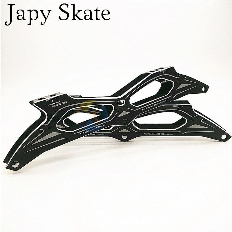 """Prix pour Jus japy Skate Powerslide Patin de Vitesse en ligne Cadre 3*125mm 12.6 """"En Alliage D'aluminium Pour 3 Roues Vitesse Bassins 165-195mm Distance Base"""