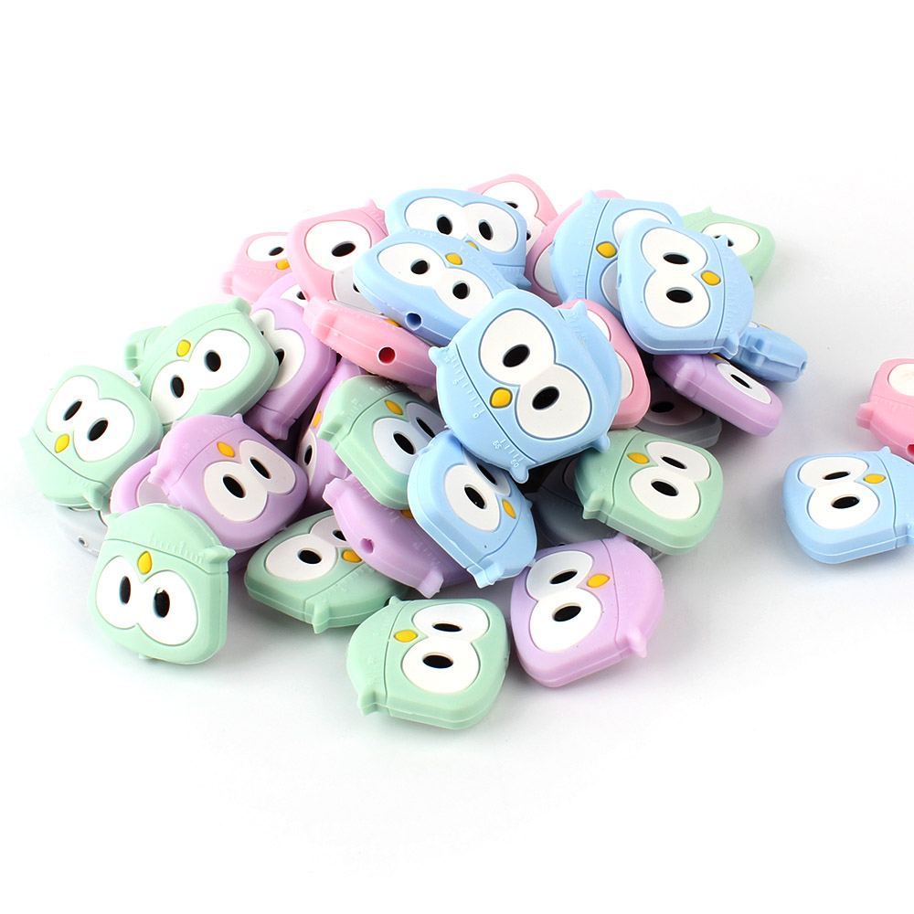 5pcs Cute Silicon Owl Beads Rodent Silicone Teething Beads Accessories Silicone Rodent Making Necklace Pendant Baby Products