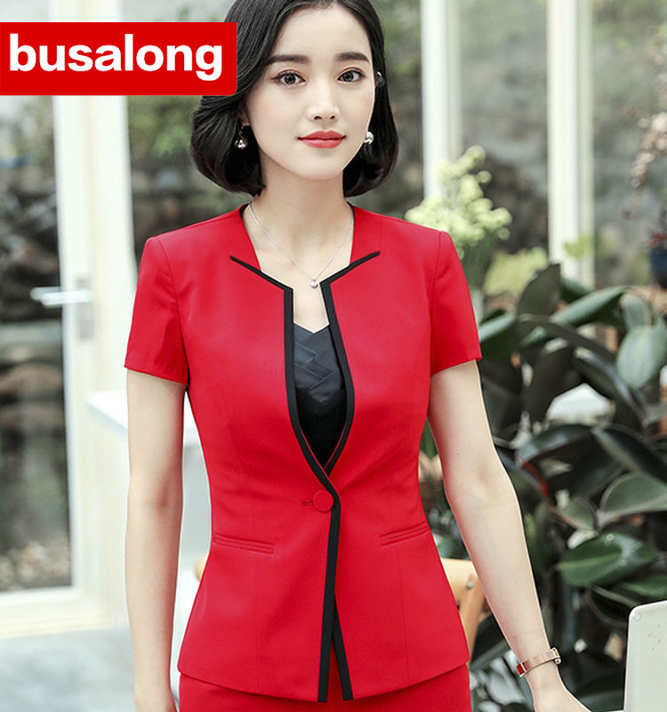 Suits Women Blazer Blazers Gray Black Womens Formal Jackets Coats Short  Sleeve Office Uniform Style Elegant Tops-in Pant Suits from Women s  Clothing on ... 09c986f50