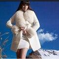 Nueva Otoño Invierno Moda Mujeres Abrigo Largo De Cachemira de Lana Capa Con gran Cuello de Piel Femenina Chaqueta de Lana de Cuello de Lana Outwear Caliente 649