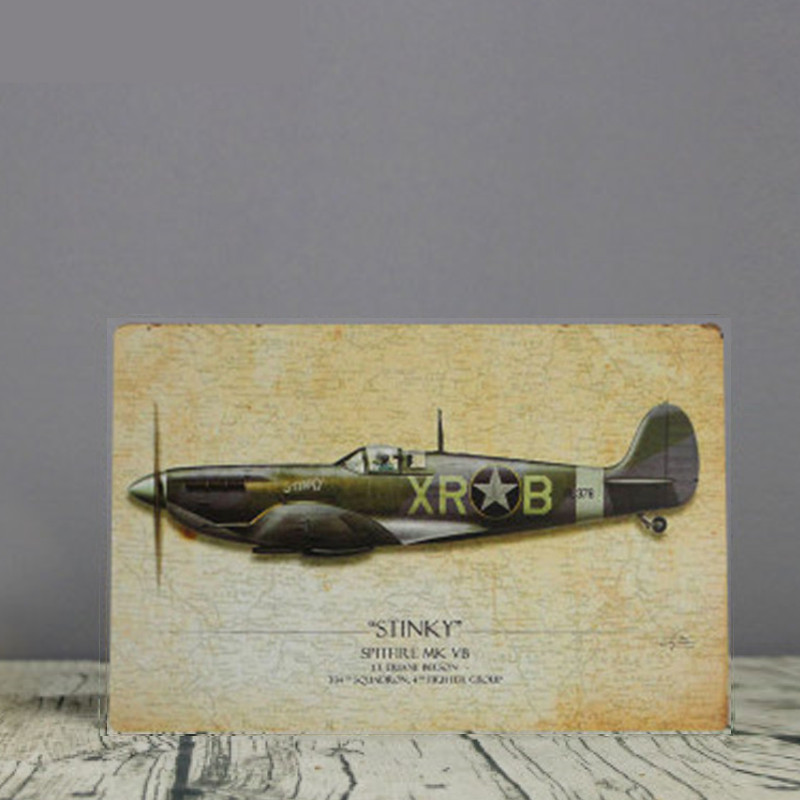 World War II Aircraft Model Vintage House Bar Cafe Metal Poster ...