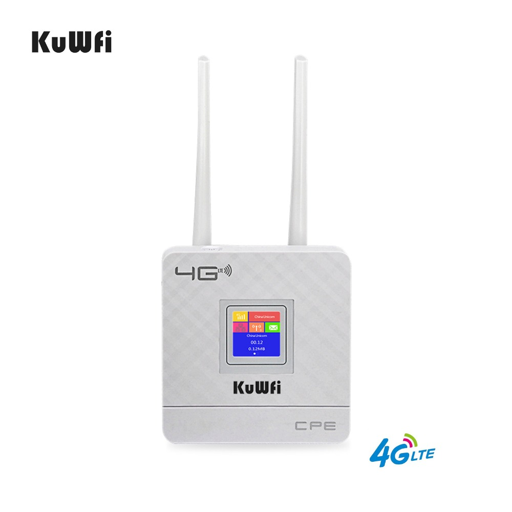 KuWFi Unlocked 4G LTE CPE Router 300Mbps Wireless Router With SIM Card Slot Dual External Antennas for home Support 10users стоимость