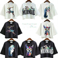 Summer new female T-shirt shorts navel space cotton Korean style high waist all-match fawn coat Mermaid Harajuku RTX700