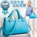 Высокое качество женщины ИСКУССТВЕННАЯ кожа сумочка леди плечо сумка Крокодил дизайн женские сумки