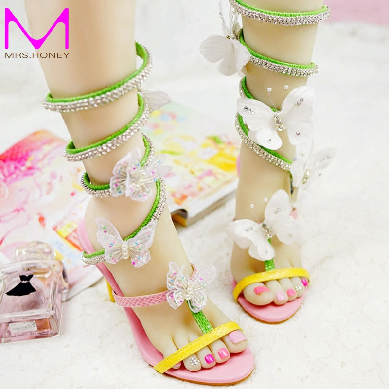 ФОТО Women Gladiator Butterfly Sandals Colorful Wedding Party High Heel Sandal Special Design Bridal Shoes Handmade Prom Pumps