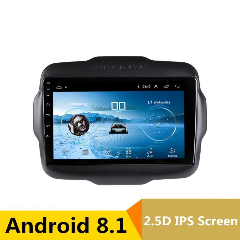 9 Android 8.1 Voiture DVD Lecteur Multimédia GPS Pour Jeep Renegade 2015 2016 2017 audio de voiture radio stéréo navigateur bluetooth wifi