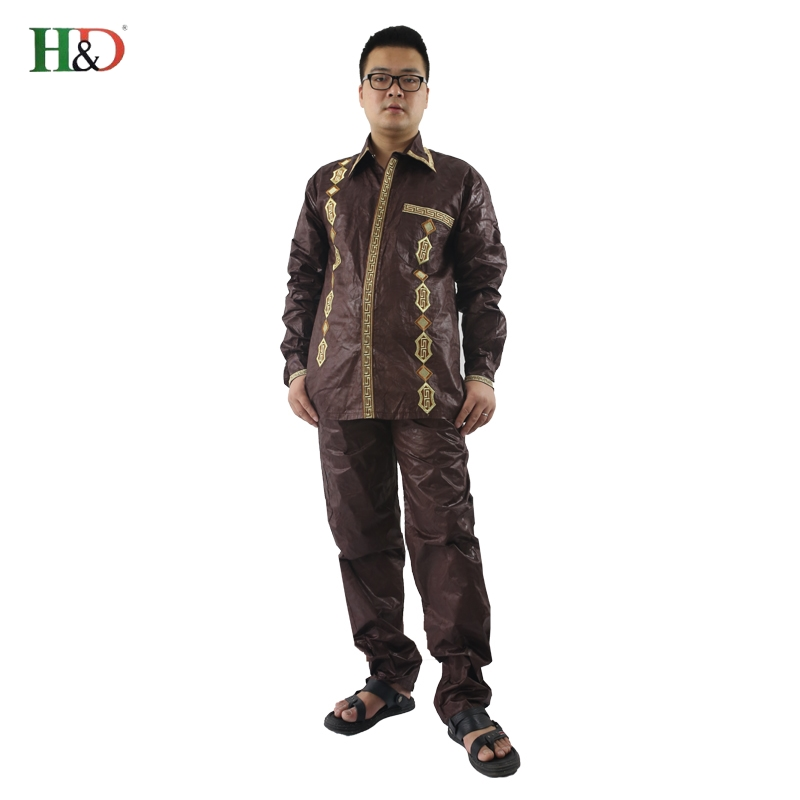 H D Mens african clothing dashiki man shirt with trouser new african fashion traditional bazin riche