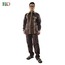 H&D Mens african clothing dashiki man shirt with trouser new african fashion traditional bazin riche embroidery two pcs one set