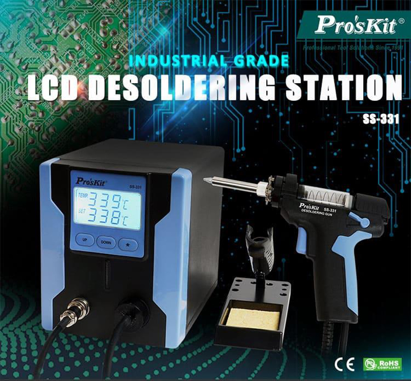 Pro'sKit SS-331H ESD LCD Digital BGA Desoldering Suction Electric Absorb Gun Electric Vacuum Desoldering Pump Solder Sucker Gun щипцы ppd esd ss sa