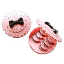 Flower Bow Pattern Fake Eyelash Storage Box Makeup Cosmetic Case Organizer