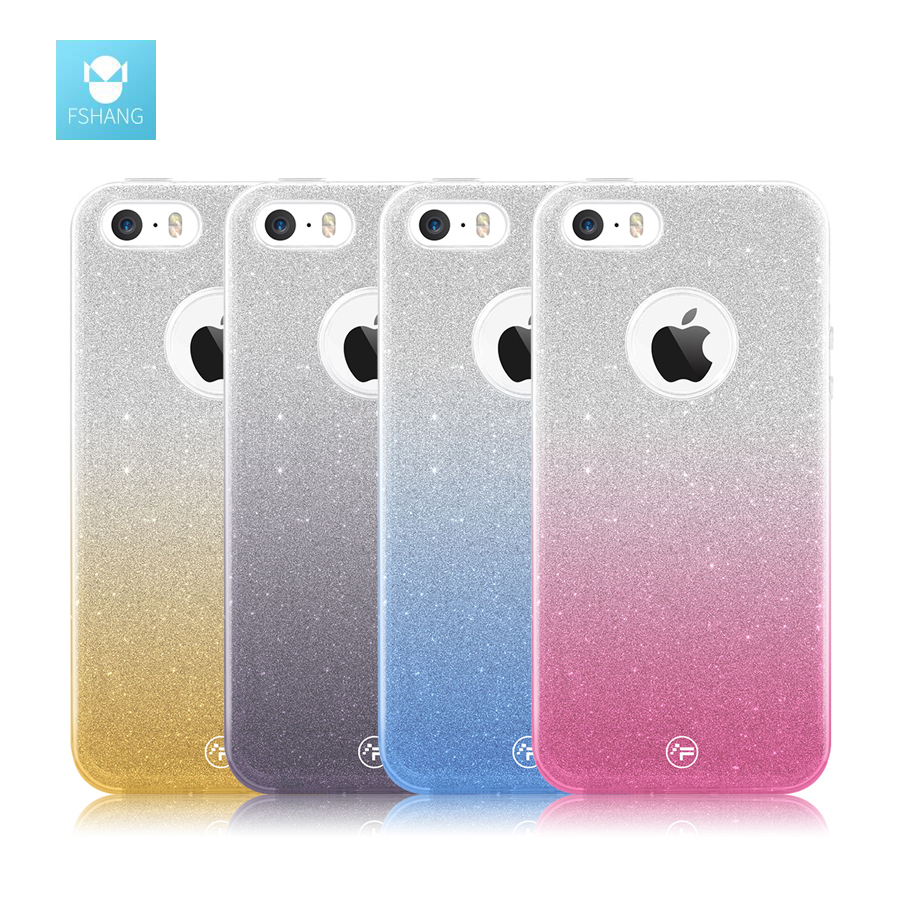 FSHANG Case For iphone 5S SE Glitter Shining Gradient Coque Silicone Cover Transparent Soft TPU Luxury For iphone 5SE 5 S Coque