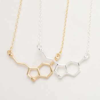 yiustar 2017 Serotonin Molecule Pendants Necklace For Women Chemistry Chokers Collar Elegant Simple Gold Silver Necklace XL012